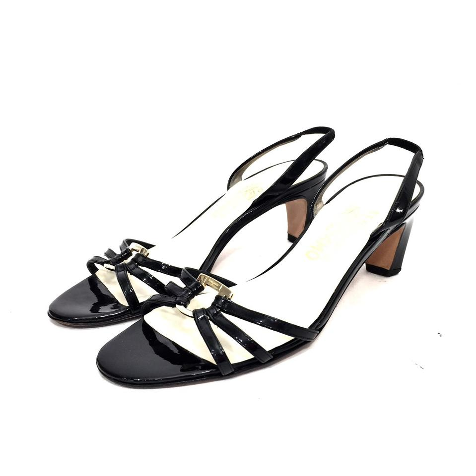 f078070a1 Salvatore Ferragamo Black Patent Leather Strappy Heels W  Gold Logo ...