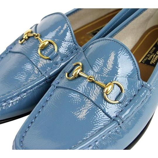 Gucci Blue Horsebit Soft Patent Leather Loafer 338348 4400 (38 G / 8 Us) Shoes