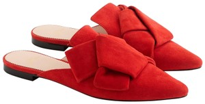 J.Crew Bow Suede Leather Bright Cerise Mules