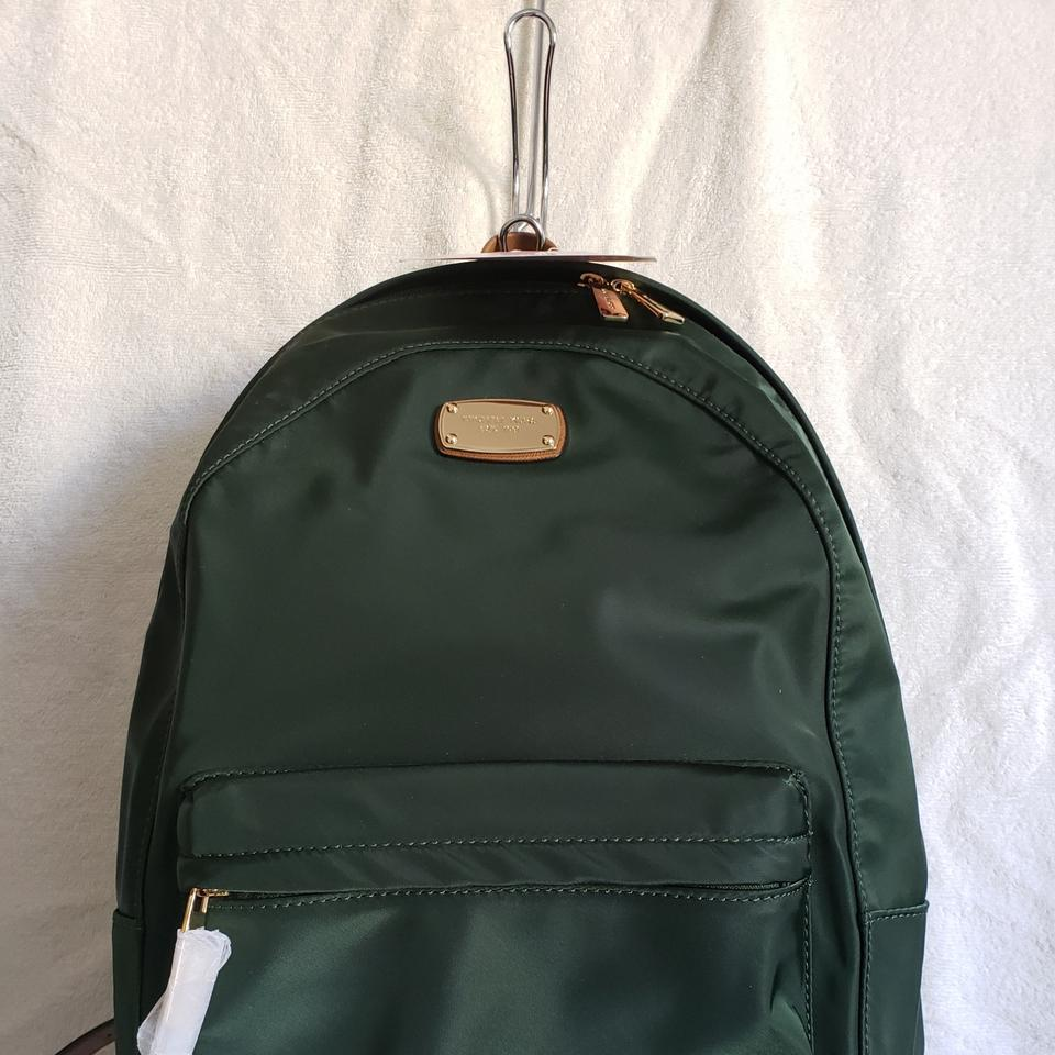 a8e5855c9206 Michael Kors Jet Set Large Moss Green Nylon with Leather Trim Backpack