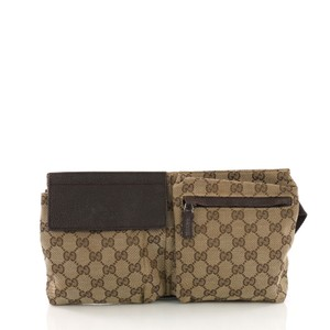 b7534b1b084e Added to Shopping Bag. Gucci Canvas Shoulder Bag. Gucci Vintage Double Belt  Gg Brown ...