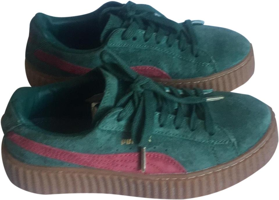 FENTY PUMA by Rihanna Green X Wmns Suede Creeper Sneakers Size US 8 ... 0156ff4a2