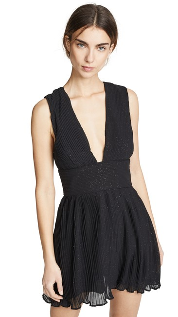 Item - Black Allure Mini Plunge Sparkle Short Cocktail Dress Size 4 (S)
