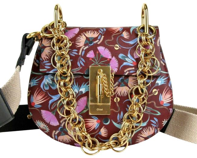 Chloé Drew Bijou Floral Print Small C0t1qb Plum Purple Leather Shoulder Bag Chloé Drew Bijou Floral Print Small C0t1qb Plum Purple Leather Shoulder Bag Image 1