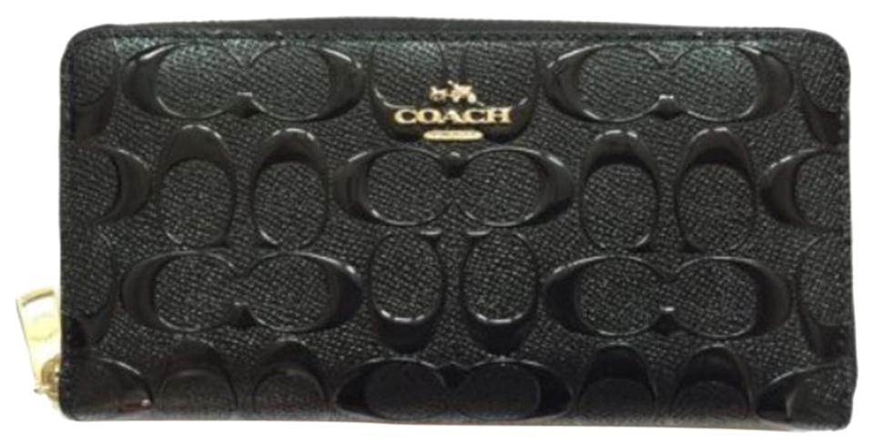 70730c72ea Coach Black New Patent Leather Accordion Zip Signature Gold Madison Wallet