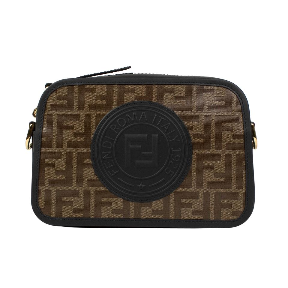 49ec9c91e4 Fendi Black Brown Cam Ff Canvas Camera Brown Leather Cross Body Bag ...