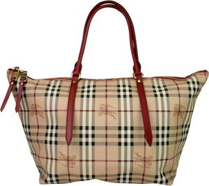 a61ff09f57c2 Burberry Red Tan Checkered Coated Canvas Haymarket Tote in Red Tan