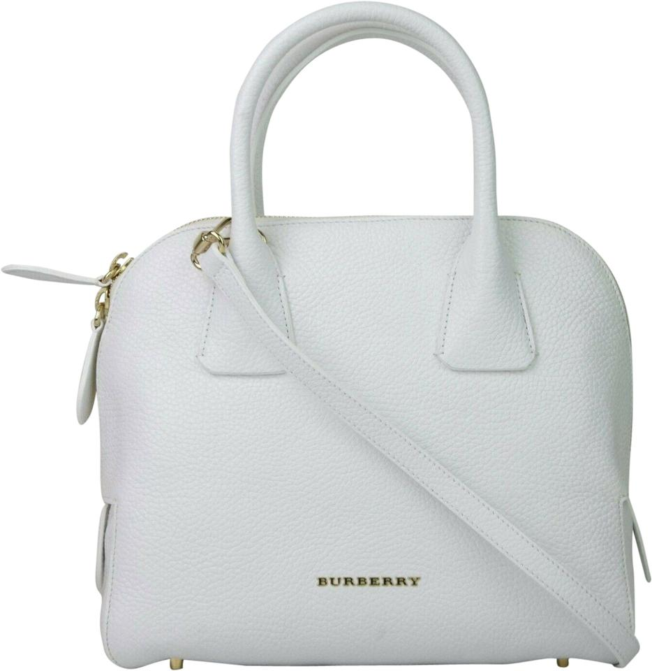 62c410cfcf56 Burberry Grainy Small Greenwood Bowling 3965697 White Leather ...