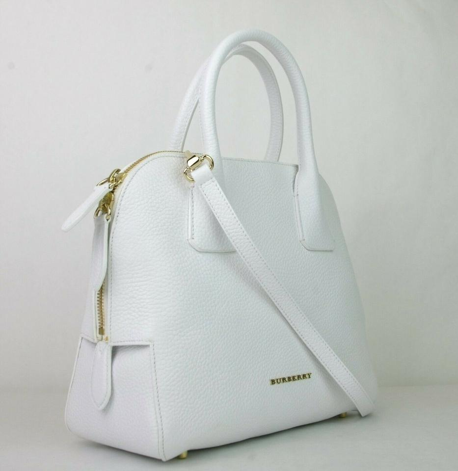03575e8a90b5 Burberry Grainy Small Greenwood Bowling 3965697 White Leather ...