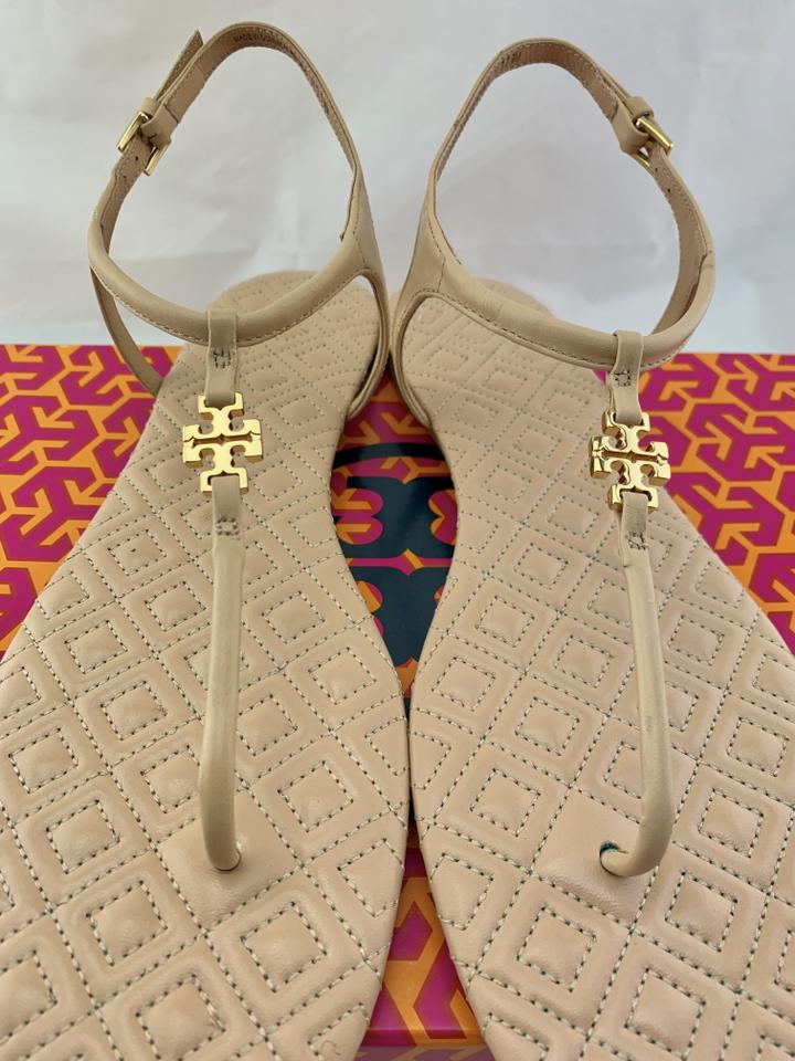 ebe24c86e05 Tory Burch Marion Quilted Gold T-strap Nude Sandals Image 10. 1234567891011
