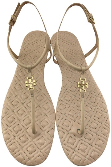43bce5deee4fc Tory Burch Nude Marion T Quilted T-strap Sandals Size US 7.5 Regular ...