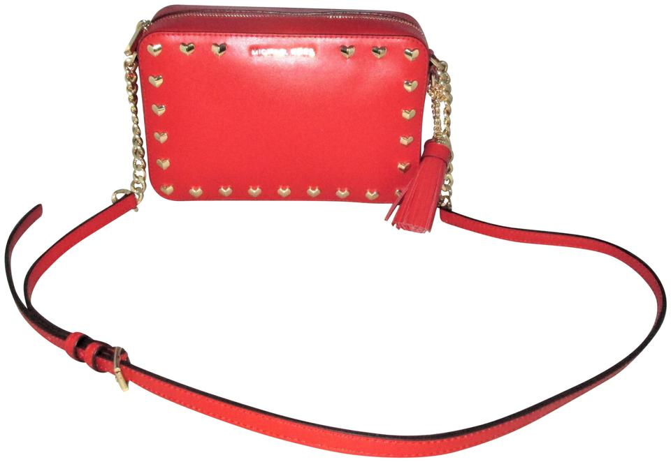 c0af2bf45ac6 Michael Kors Ginny Heart Studded Medium Camera Cross-body Red Pebbled Leather  Shoulder Bag