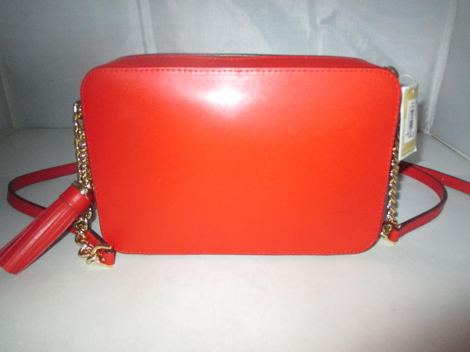 26ba525d8dc9 Michael Kors Ginny Heart Studded Medium Camera Cross-body Red Pebbled  Leather Shoulder Bag - Tradesy