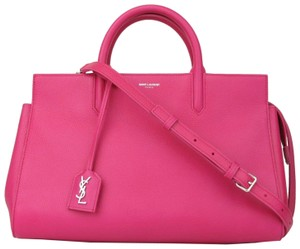 Saint Laurent Yves Leather Cabas Rive Satchel in Hot Pink