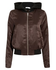 A.L.C. Metallic Hardware Satin Dickie Burgundy/Black Jacket