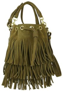 Yves Saint Laurent Suede Emmanuelle Fringe Shoulder Bag
