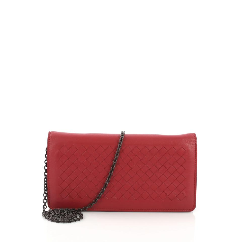 1de2be28b164c Bottega Veneta Red On Chain Intrecciato Nappa Wallet - Tradesy