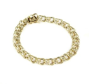 Other Vintage 14k Yellow Gold Double Ring Charm Bracelet
