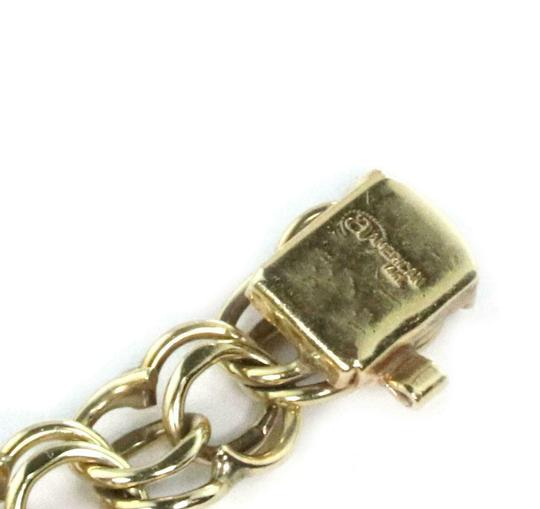 Other Vintage 14k Yellow Gold Double Ring Charm Bracelet Image 3
