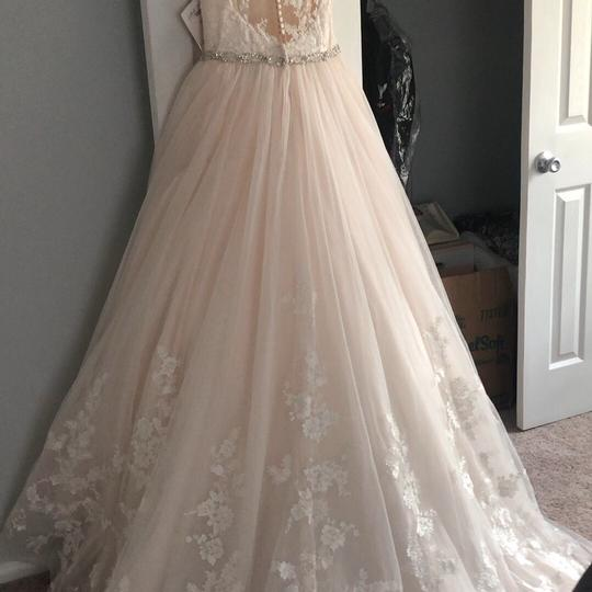 Stella York Ivory/Moscato/Almond Tulle/Lace Ballgown Formal Wedding Dress Size 8 (M) Image 7