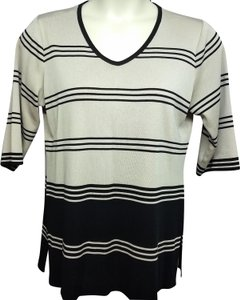 Misook Knit Top BLACK/TAUPE