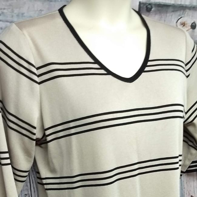 Misook Knit Top BLACK/TAUPE Image 1