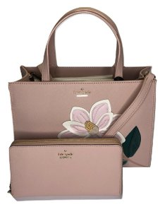 Kate Spade Matching Set Leather Sam Magnolia Designer Satchel in Warm Vellum