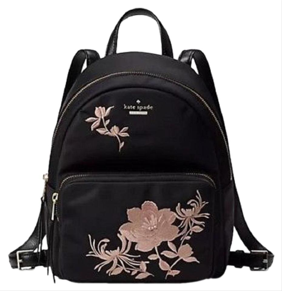 2a953910b2d04 Kate Spade Small Noria Dawn Place Embroidered Black Nylon Backpack ...