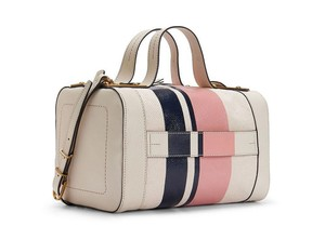 Tory Burch Satchel in Parchment/Pink Lemonade/Tory Navy