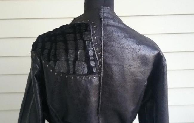 Chi by Falchi Faux Leather Reversible Faux Fur Suede Belted Motorcycle Jacket Image 3