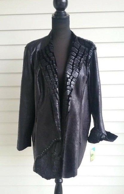 Chi by Falchi Faux Leather Reversible Faux Fur Suede Belted Motorcycle Jacket Image 5
