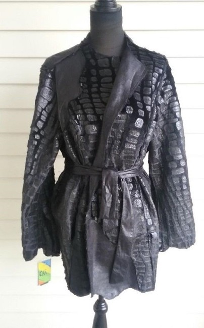 Chi by Falchi Faux Leather Reversible Faux Fur Suede Belted Motorcycle Jacket Image 9