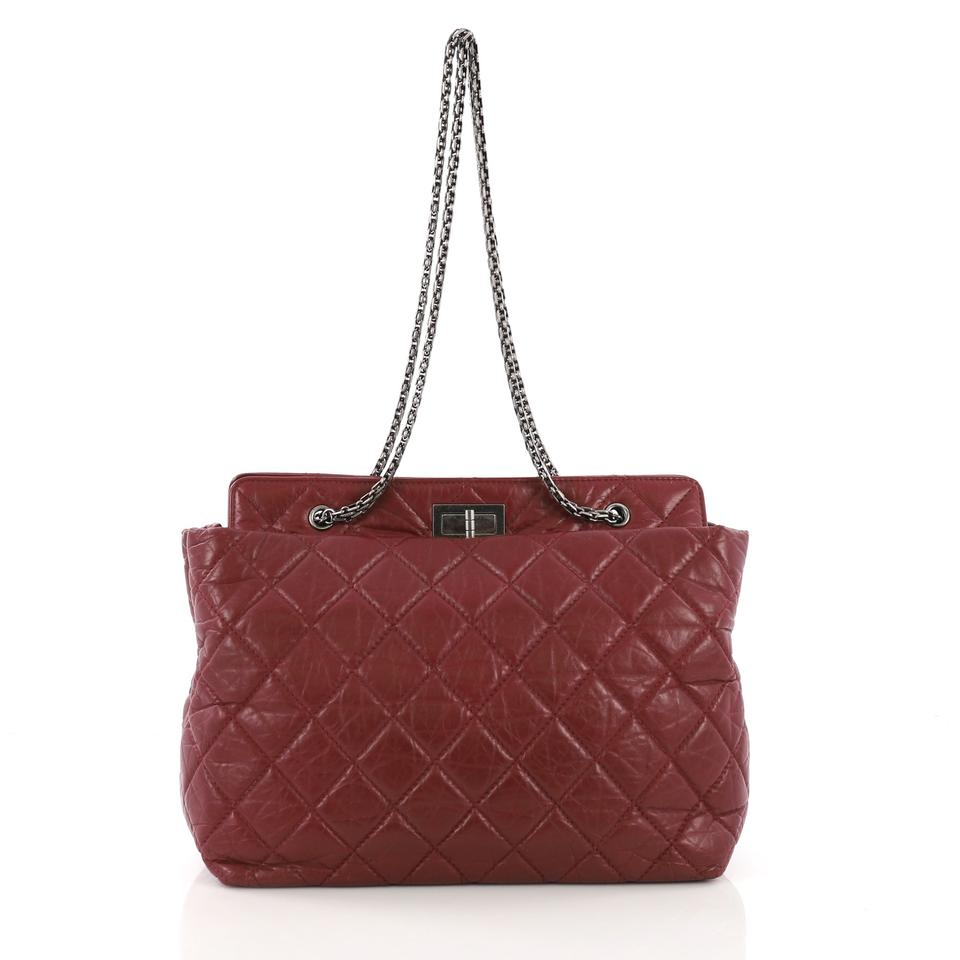 84e884d2eaff Chanel 2.55 Reissue Quilted Aged Large Burgundy Calfskin Leather Tote