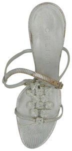 Céline Crystal Leather Embossed Silver Sandals