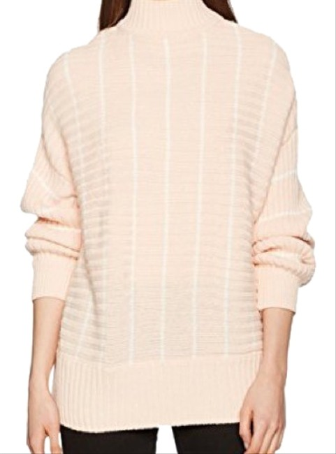 Item - Stripe Chunky Funnel Neck Pink Sweater