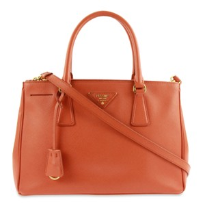 Prada Leather Tote in Orange