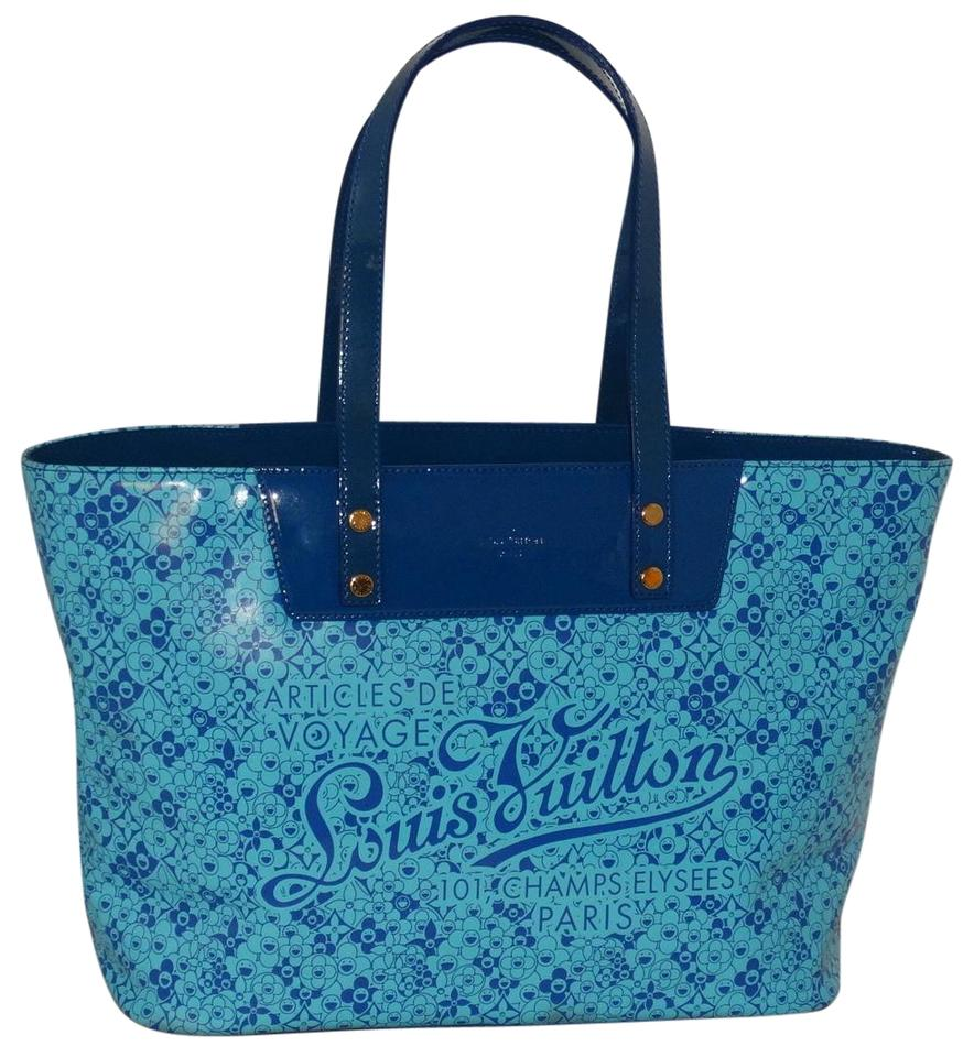 95c8ae6847001 Louis Vuitton Limited Edition Pm Cosmic Blossom Blue Pvc Patent ...