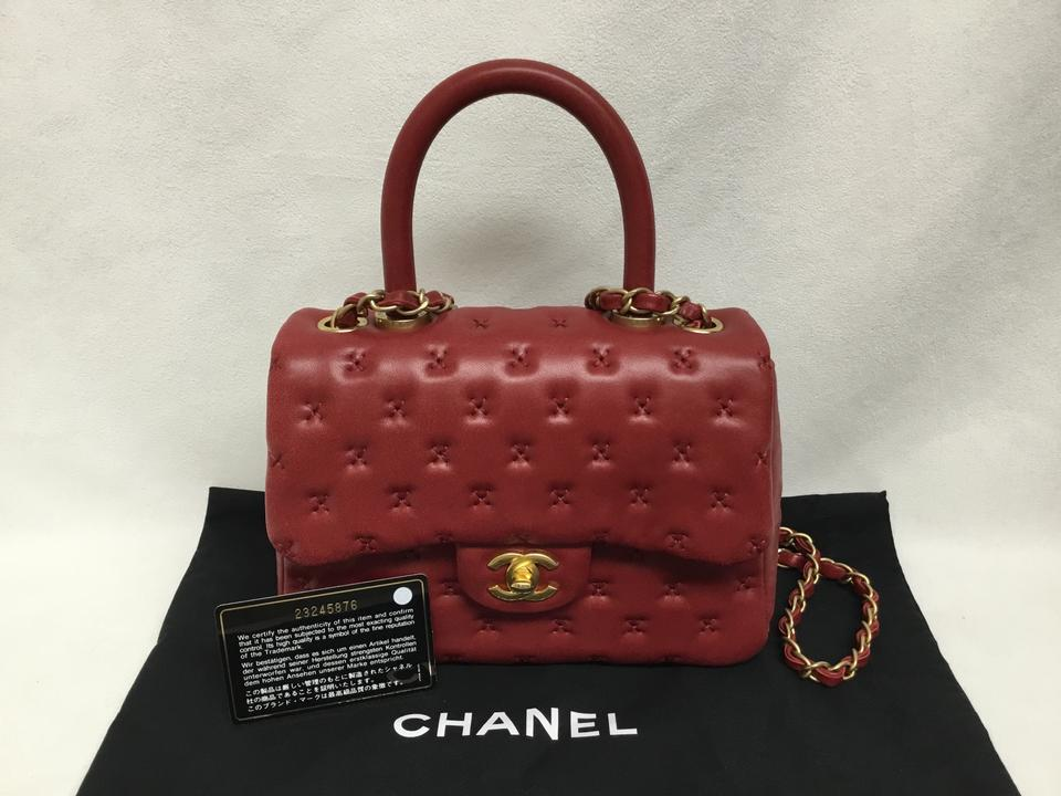 3e7cde5bbe5a Chanel Classic Flap Coco Handle Cross Stitched Mini Red Leather ...
