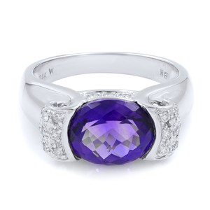 Other Diamond And Amethyst Ring in 14K White Gold