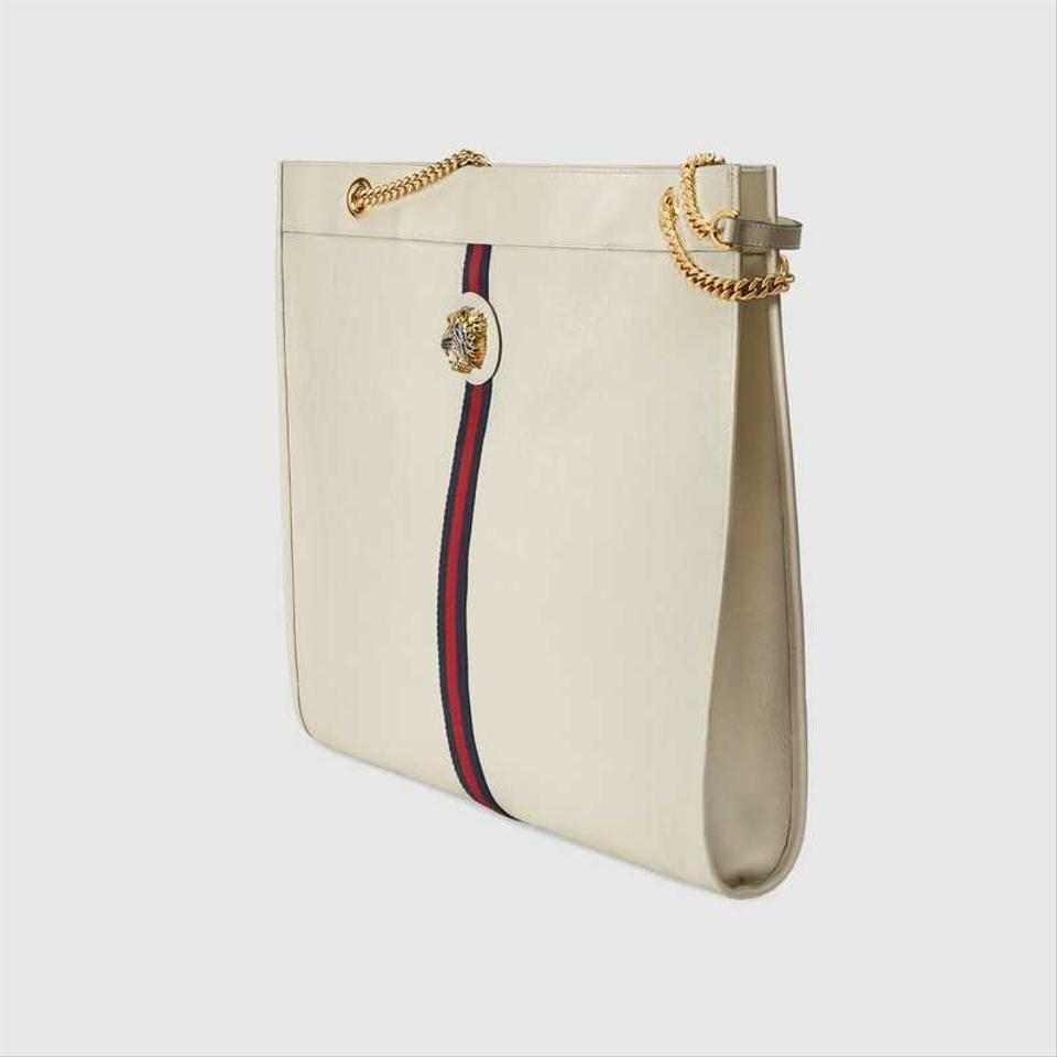 22596c0239fe Gucci Rajah Maxi with Tiger Eye White Suede Leather Tote - Tradesy