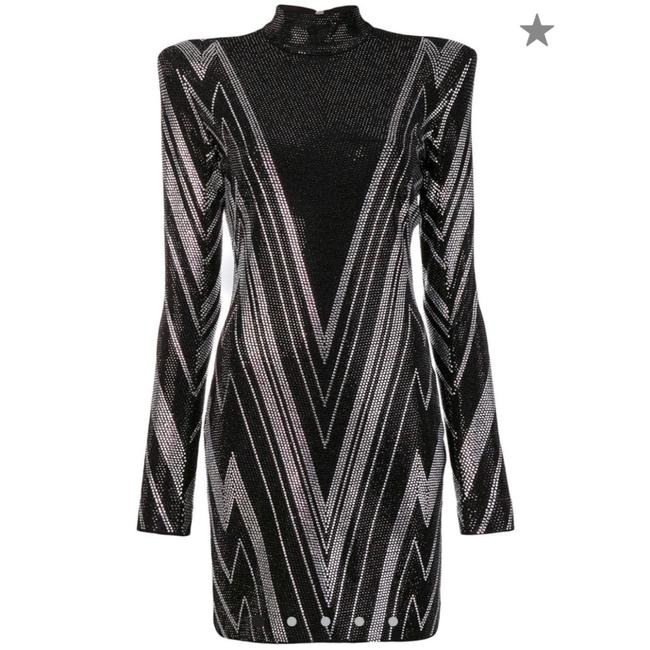 Item - Silver and Black Embellished Long-sleeve Short Cocktail Dress Size 6 (S)