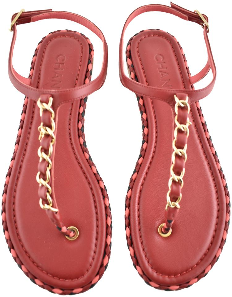 dadb27035326 Chanel Red Pink Braided Gold Cc Logo Chain Thong Ankle Strap Slide ...