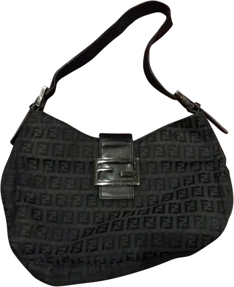 e036b9c0a4ff Fendi Monogram Black Hobo Bag - Tradesy