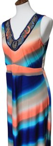 Blue, Tan, Salmon Maxi Dress by NY Collection Colorful Stretchy Lightweight