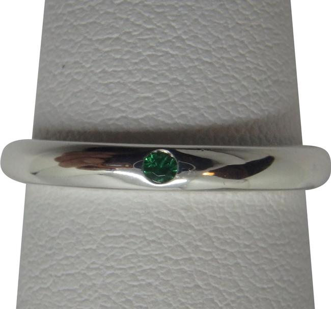Item - Sterling Silver and Green Emerald Stacking Ring