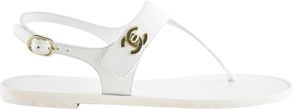 1dec8872c531 Chanel White 18p Turnlock Gold Cc Logo Thong Ankle Strap Slide Flat Sandals