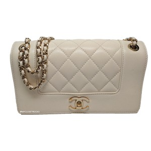 Chanel Mademoiselle Vintage Flap White Shoulder Bag