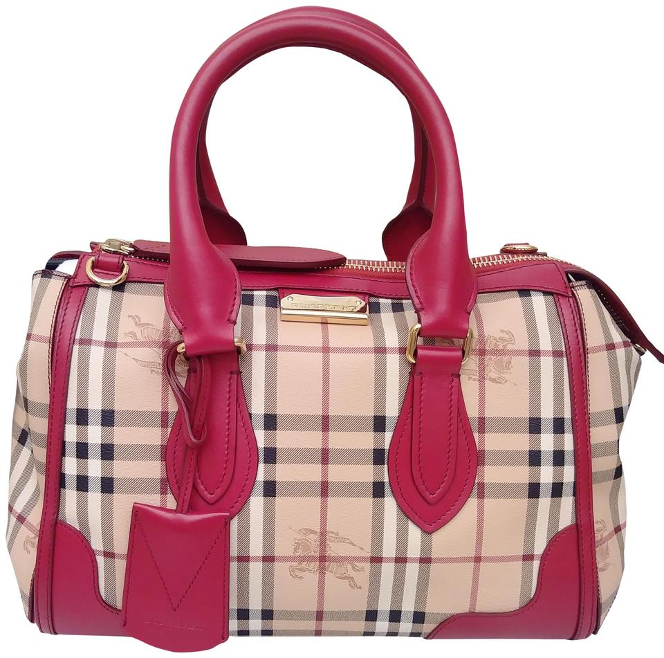9462665394 Burberry Haymarket Check Portrait Gladstone Red Coated Canvas Tote ...