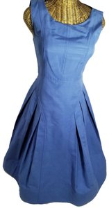 Sinclaire 10 short dress French Blue Gold Back Zipper Fully Lined Pleated on Tradesy