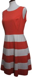 Coral & White Maxi Dress by Nine West Striped Sleeveless